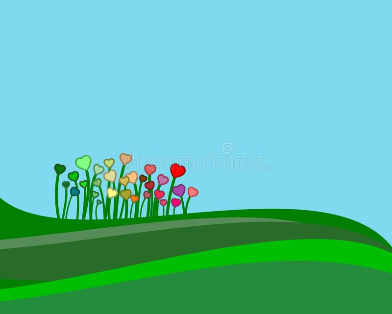 Green hills with some colorful flowers in a springtime scene. stock image