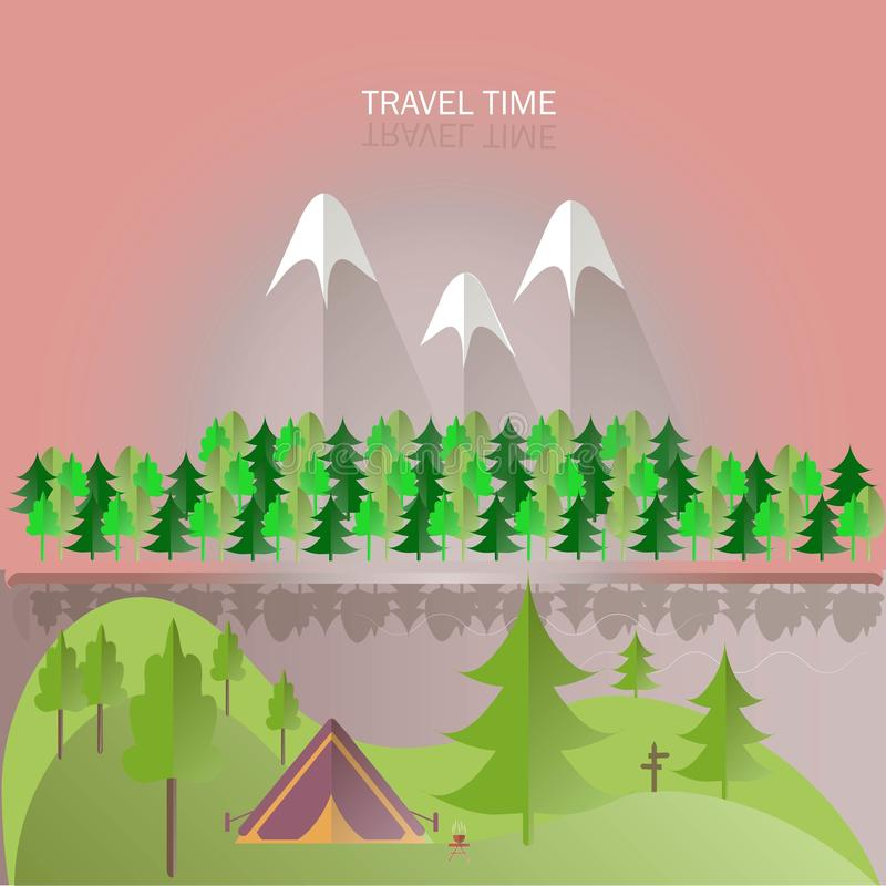 Green hills, trees and forest, violet mountains with white peaks, pink skies, river, tent, gray shade. Modern flat design, background, design element, vector stock illustration