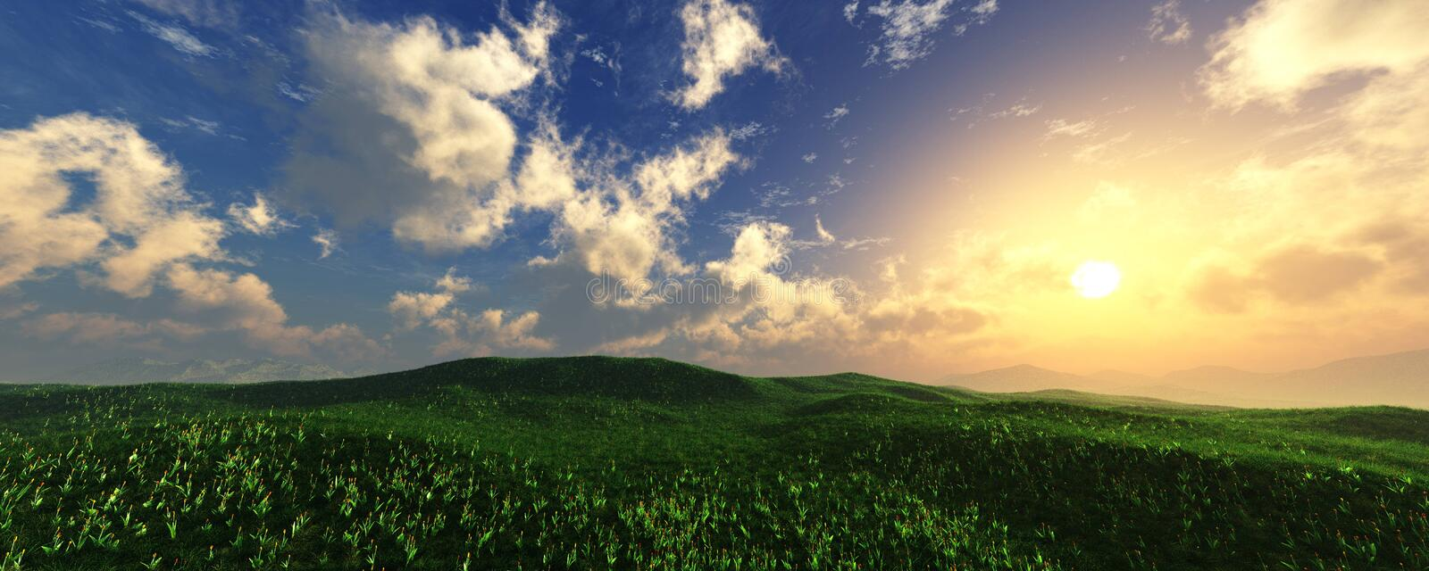 Panorama of the hilly landscape stock photography