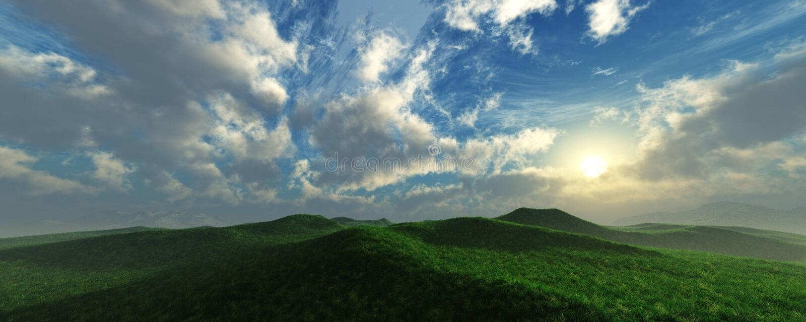 Panorama of the hilly landscape stock photo