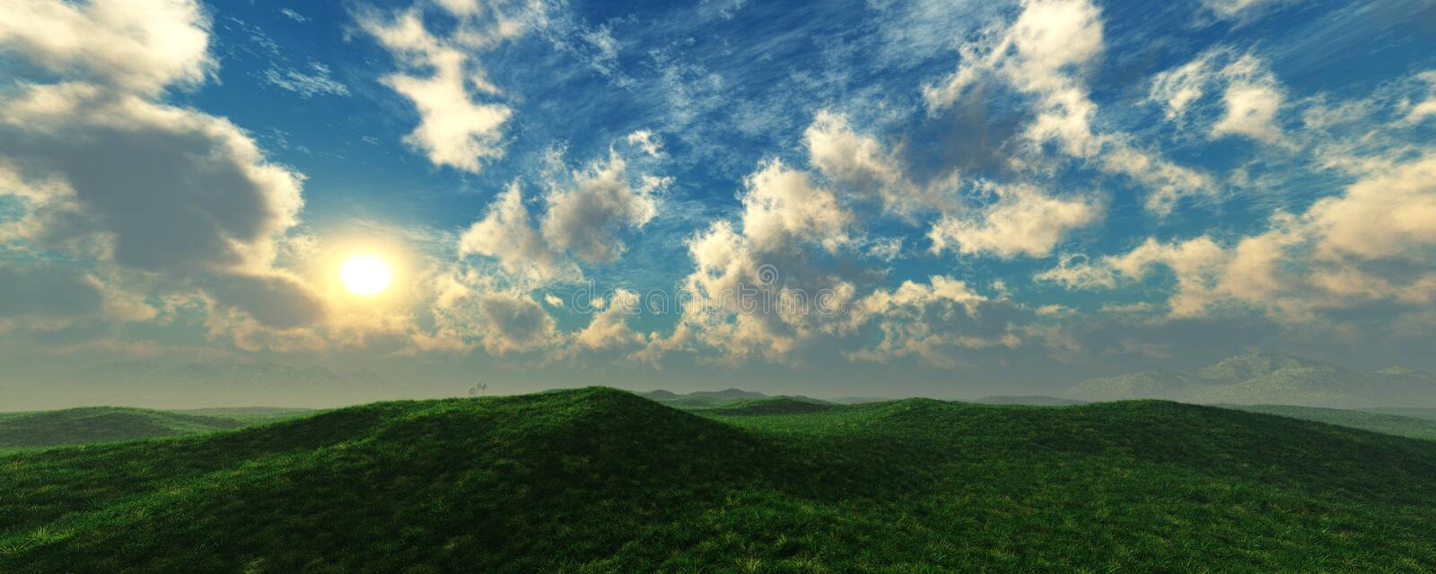 Panorama of the hilly landscape stock photos