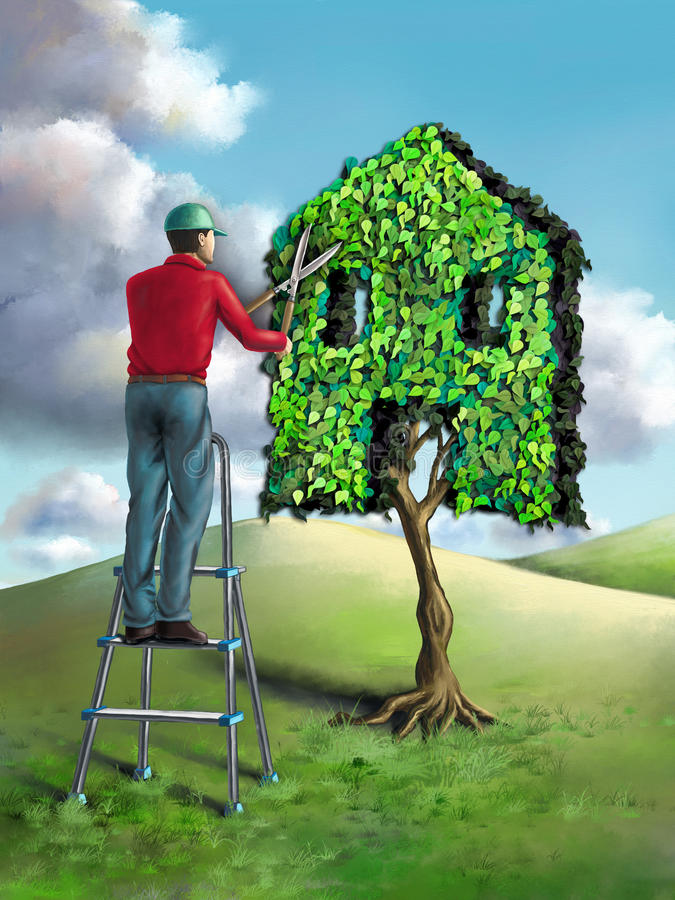 Green home royalty free illustration