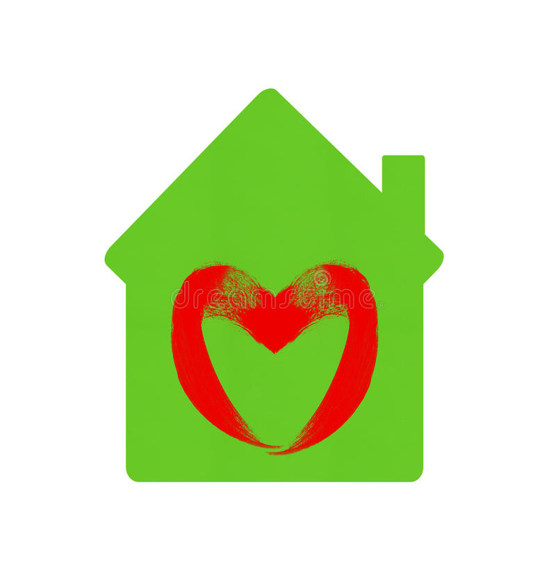 Green home icon with heart symbol isolated on white stock images