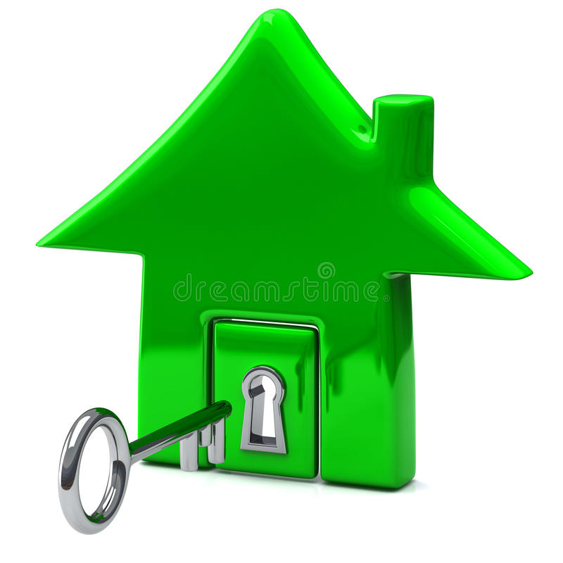 Green home icon with key, 3d royalty free illustration