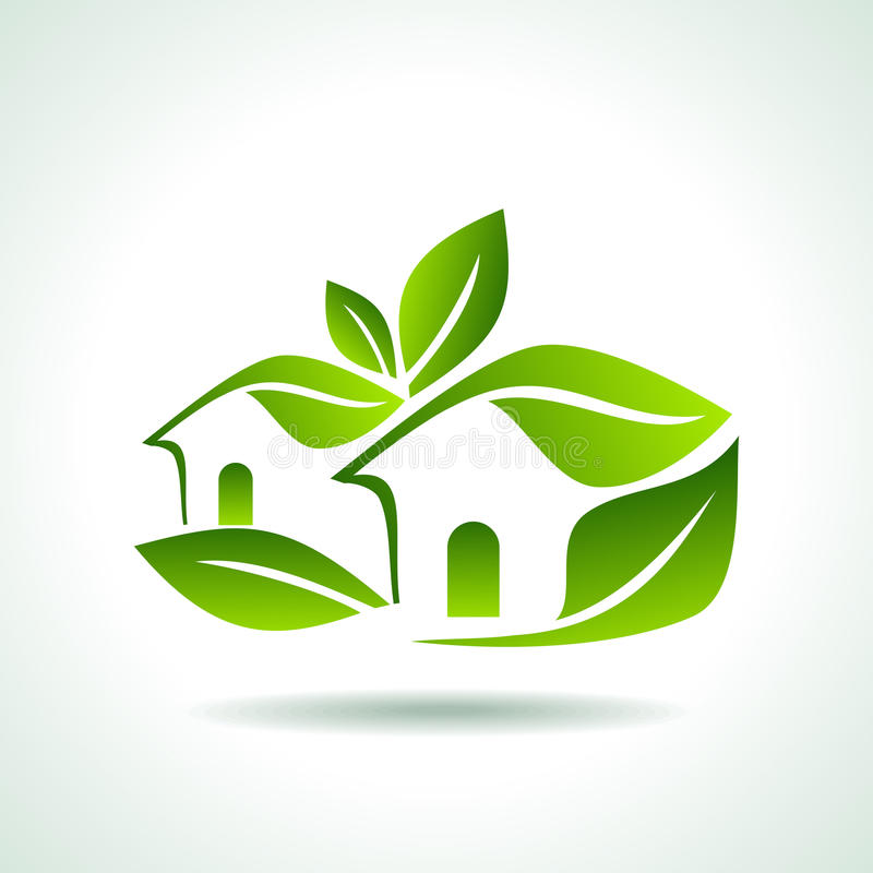 Green home icon on white background. Green home icon on nature background vector illustration