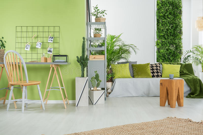 Green home interior with sofa. Desk, chair and metal bookcase royalty free stock photo