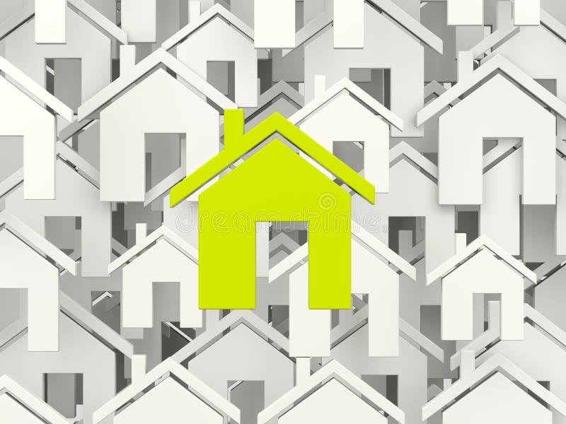 Green home symbol. Over grey homes stock illustration
