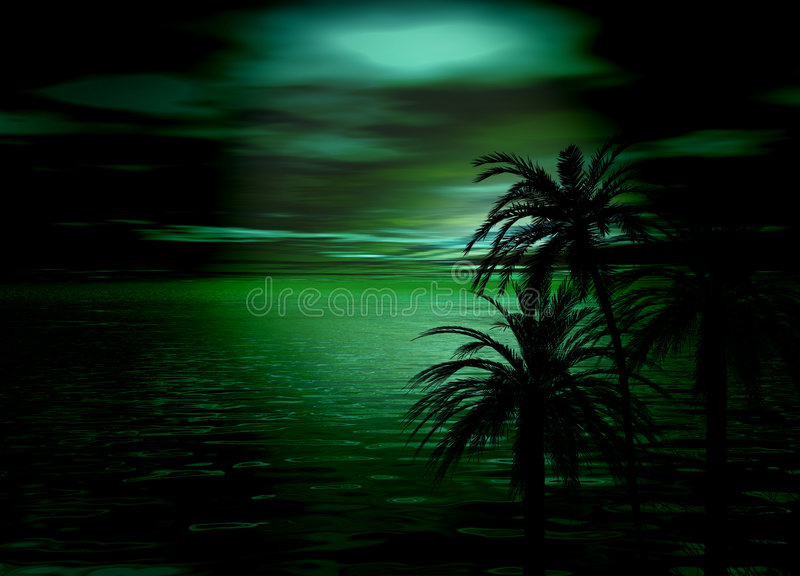 Download Green Horizon Sea And Sky Sunset With Trees Stock Illustration - Image: 6074033
