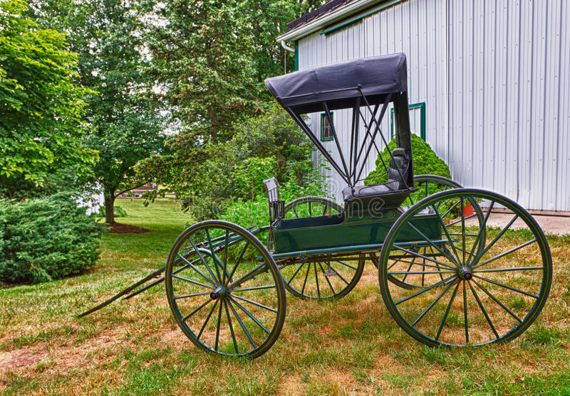Green horse drawn buggy royalty free stock photos