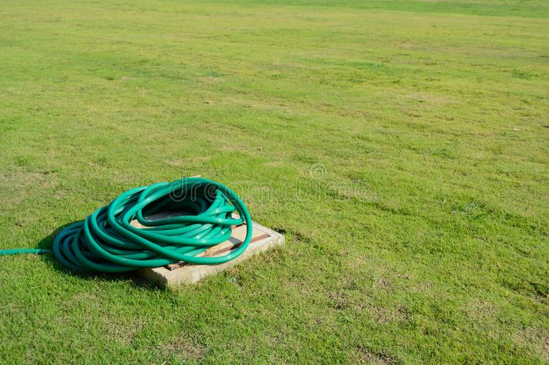 Green hose in the yard. Green hose coil in the yard royalty free stock images