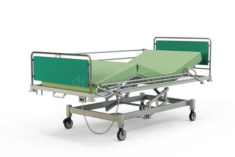 Green hospital bed with recliner and side guards. 3D illustration, isolated against a white background stock illustration