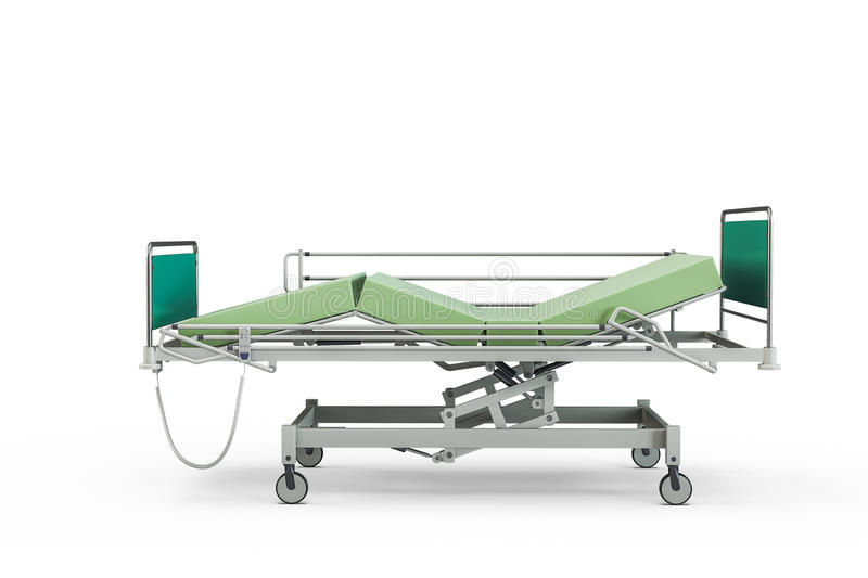 Green hospital bed with recliner and side guards. 3D illustration, isolated against a white background royalty free illustration