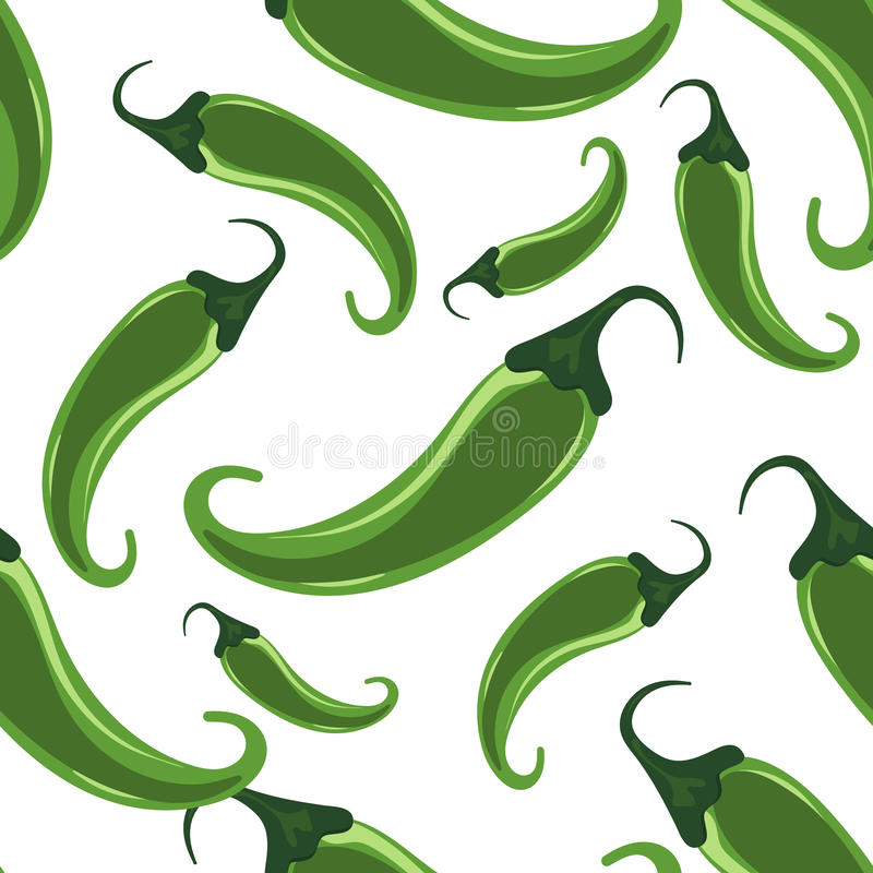 Green hot chili peppers seamless pattern stock illustration