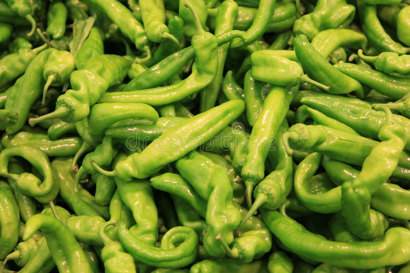 Green hot pepper. Spice background in a market stock photos
