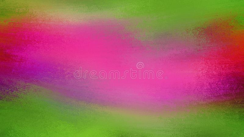 Green and hot pink background with cool motion blur effect and grunge texture. Abstract paint streaks and brush strokes royalty free illustration