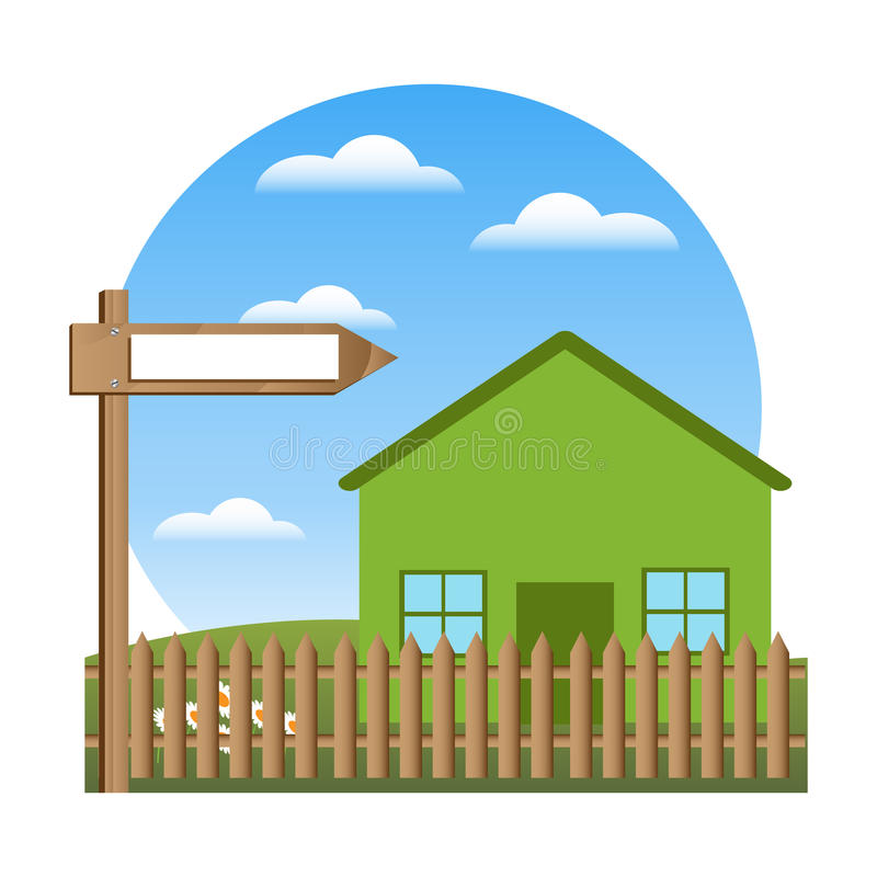 Green house and blank sign royalty free illustration