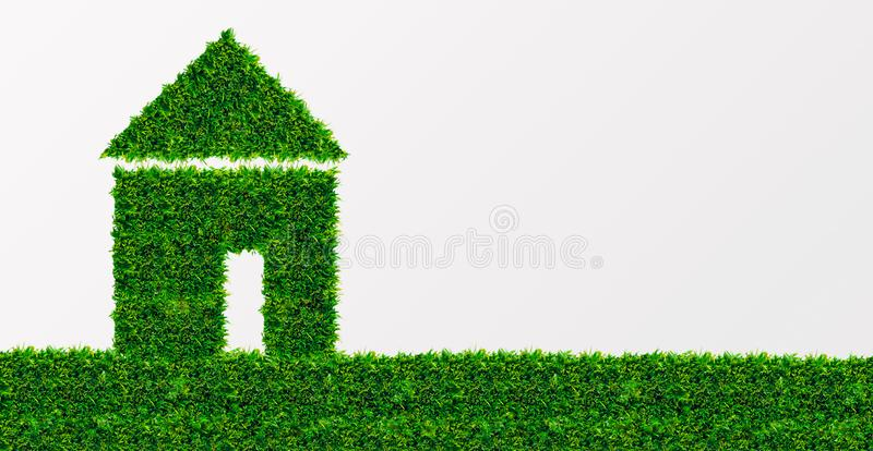 Green House building on white background, empty space. Eco Architecture. Green House building on white background, panorama with empty space royalty free stock images