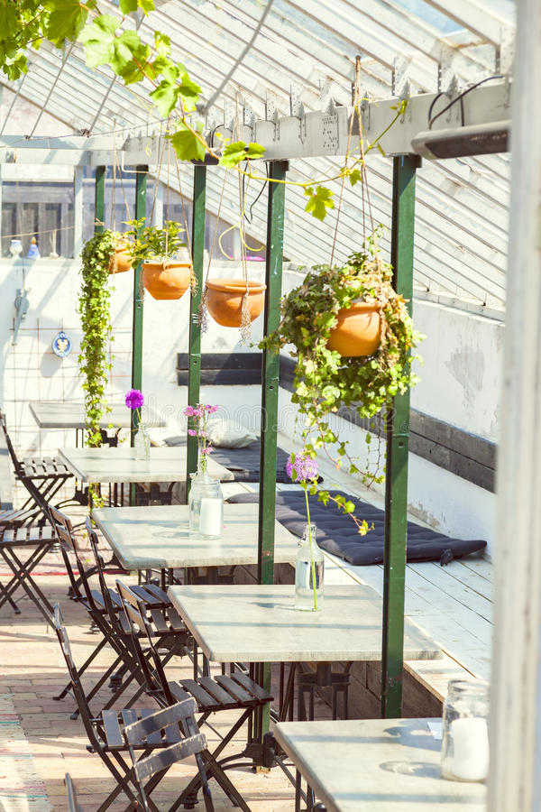 Green house cafe. Image of cozy green house cafe royalty free stock photography