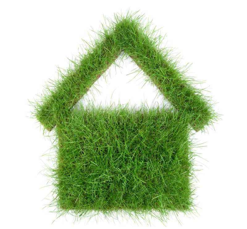 Green House Concept - Grass House on white Background. Grass House on white Background stock image