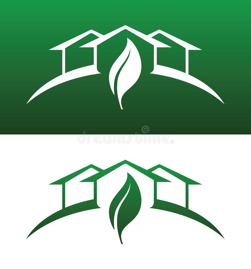 Green House Concept Icons Both Solid and Reversed royalty free stock photos