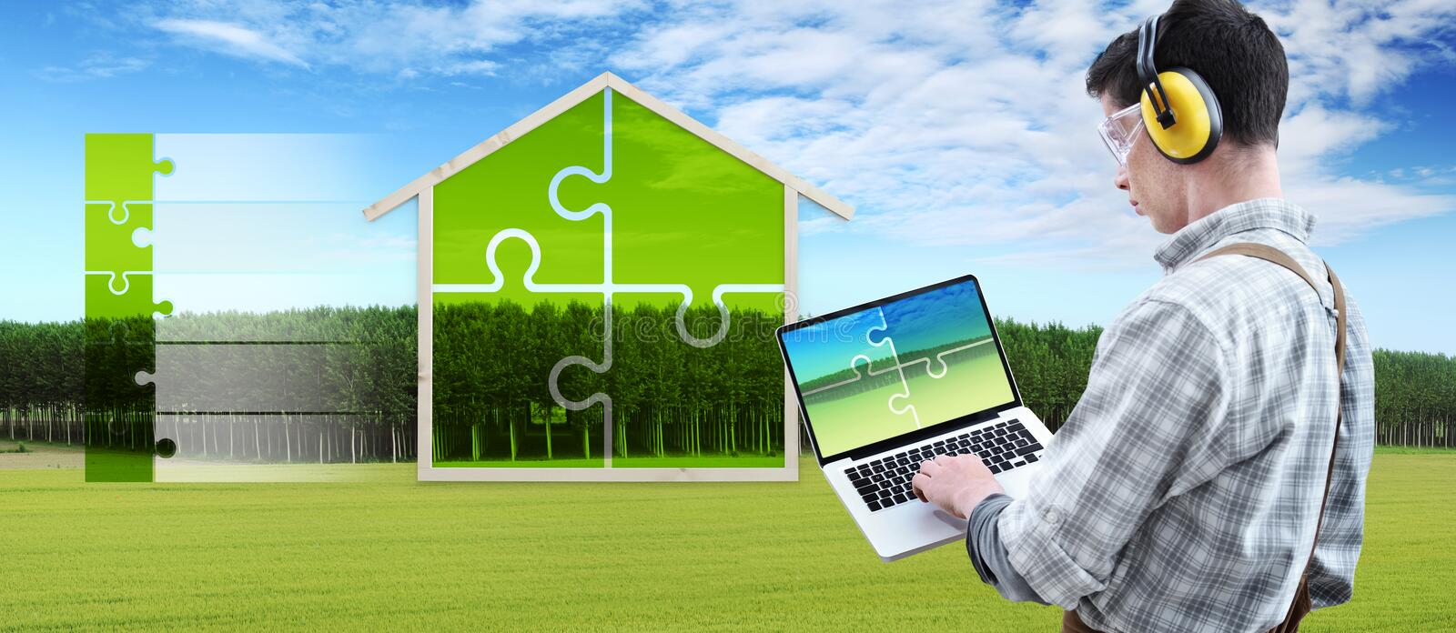 Green house construction renovation concept handyman carpenter man with laptop computer and puzzle infographic list with the shape royalty free stock images