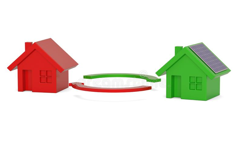 Green house ECO concept solar energy house isolated on white background, 3D illustration.  vector illustration