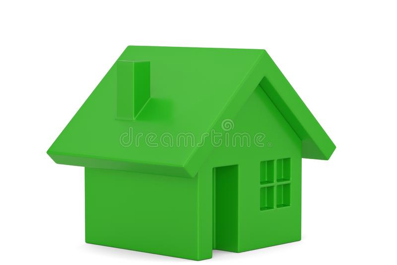 Green house ECO concept solar energy house isolated on white background, 3D illustration.  stock illustration