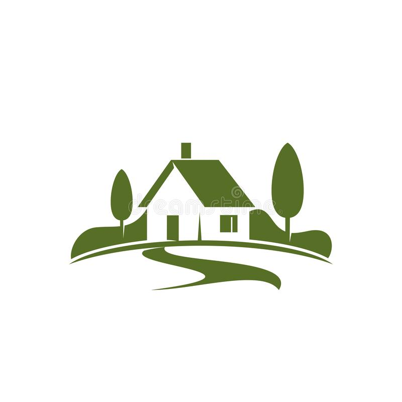 Green house or eco villa vector icon for real estate stock Homes and gardens logo