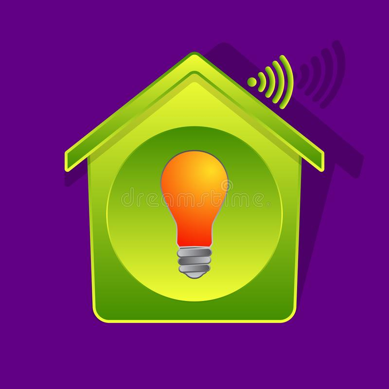 Green house and electric bulb remote control stock illustration