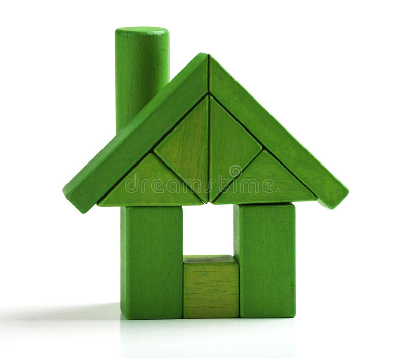 Green house, energy efficiency home save heat and ecology Toy stock photography