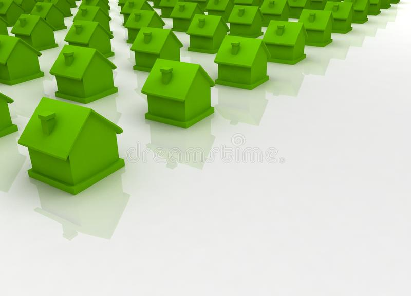 Green house in the foreground. 3d reen house in the foreground on white stock illustration