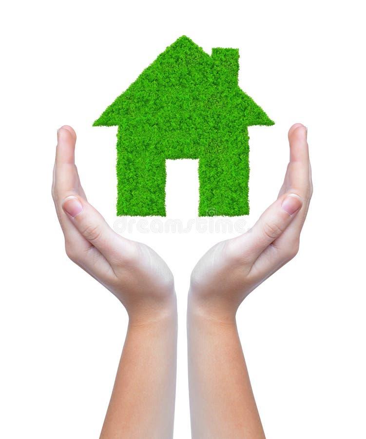 Download Green house in hands stock image. Image of model, metaphor - 35148325