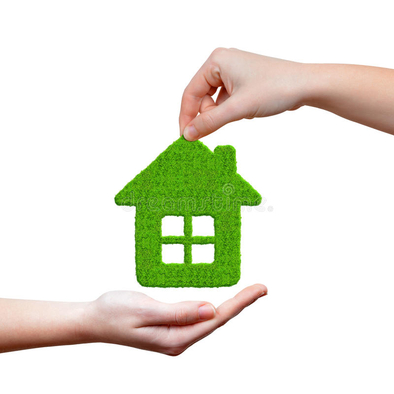 Download Green house in hands stock image. Image of house, conceptual - 43260989