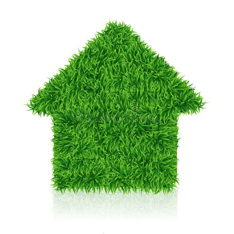 Green house, lawn grass, ecology construction, vector. Illustration royalty free illustration