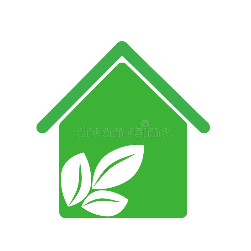 Green house with leaves inside icon, vector illustraction design image royalty free illustration