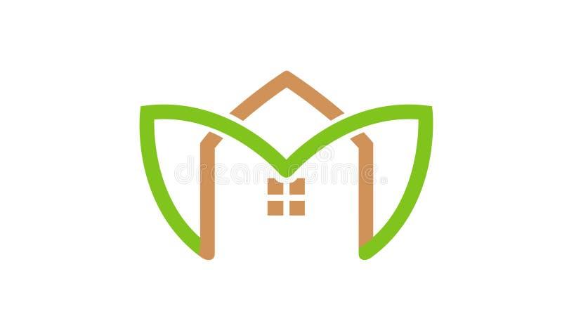 Green House Leaves Logo. Design Illustration vector illustration