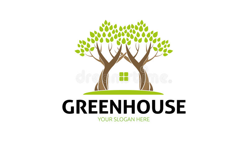 Green House Logo. Minimalist and modern green house logo template. Simple work and adjusted to suit your needs