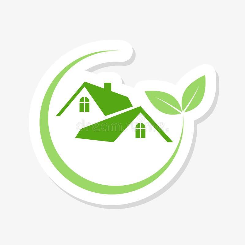 Green house logo sticker. Eco green house. On white royalty free illustration