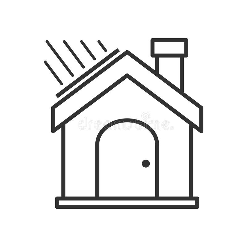 Green House Outline Flat Icon on White stock illustration