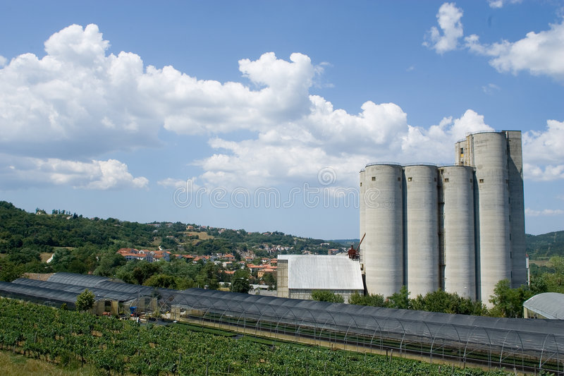 Green House And Silos Royalty Free Stock Image