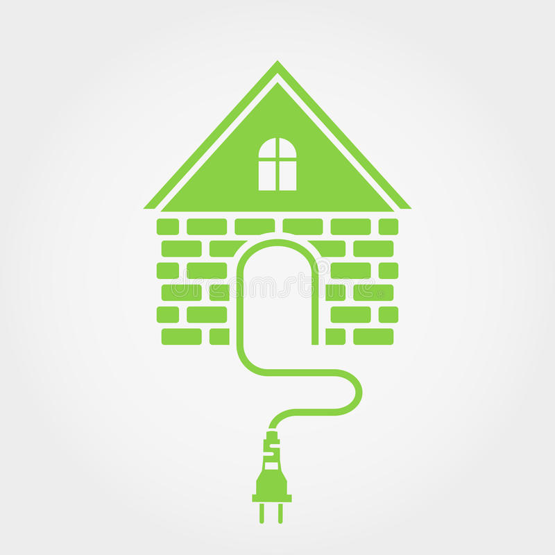 Green House With Socket, Home Electricity Icon Stock Vector ...