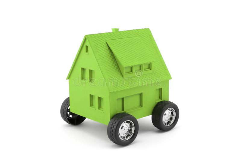 Green house on wheels stock photo