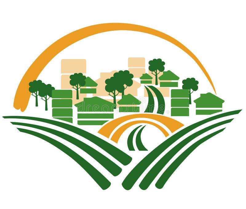 Green houses. A illustration of new green settlement houses stock illustration