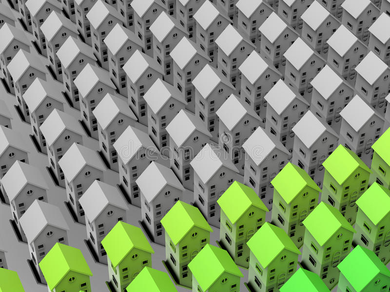 Green houses expanding concept. 3D render of multiple houses arranged in pattern over a reflective background. More houses are starting to adopt green energy vector illustration