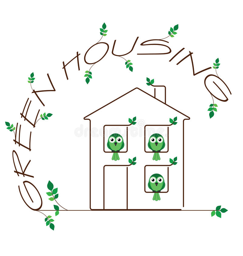 Download Green Housing stock vector. Image of twig, ecology, building - 25812034