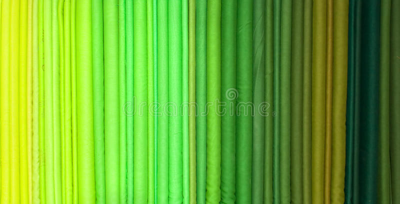 Green Hue Rolls Of Cloth Royalty Free Stock Image