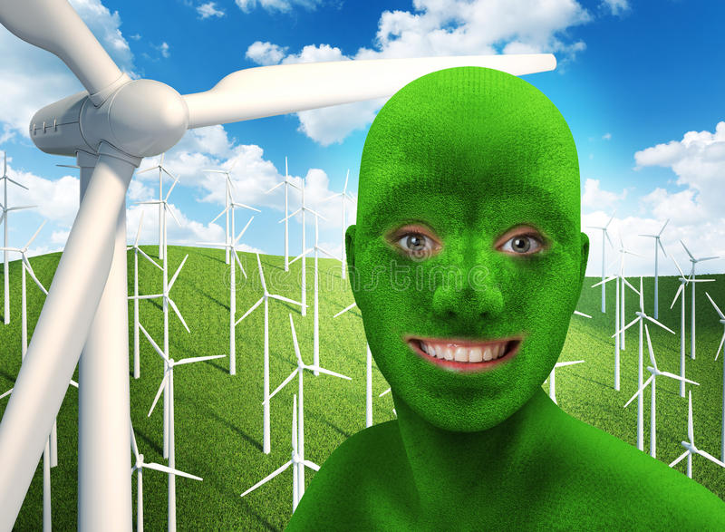 Green human's face smiling on nature vector illustration
