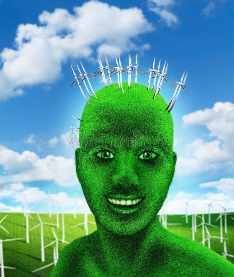 Green human's head on nature stock images