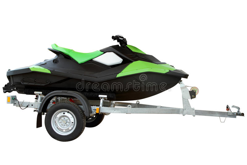 Green hydrocycle on the automobile trailer, isolated on a white. Green hydrocycle on the automobile trailer stock photography