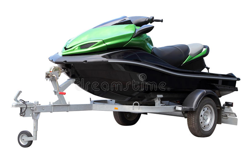 Green hydrocycle on the automobile trailer. Isolated on a white background stock photography